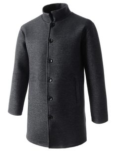 (WISC01-BLACK) Mens Over Fit China Collar Style Button Closure Stretchy Neoprene Coat