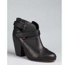 Rag & Bone black nubuck leather 'Harrow' strapped ankle boots