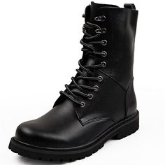 Amazon.com | DUODUO Men's 2601 Genuine Leather Combat Boots, Black,... (620 CZK) ❤ liked on Polyvore featuring men's fashion, men's shoes, men's boots, boy, shoes, mens leather combat boots, extra wide mens boots, mens wide width shoes, mens military boots and mens wide width boots