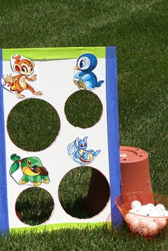 DIY bean bag toss game - customize with whatever animals/characters you want.