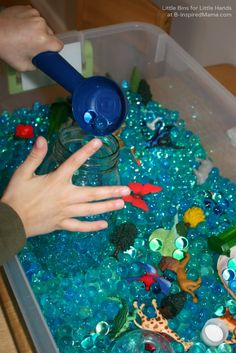 Do your kids like water beads?   Water Beads Earth Day Activities at B-Inspired Mama