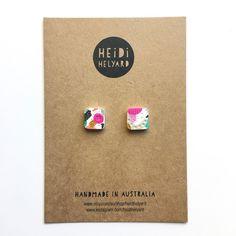 Mini square stud earrings! In the next shop update TBC. . . #heidihelyard #polymerclayearrings #polymerclayjewellery #polymerclayjewelry #studearrings #etsy #etsyau #etsyseller #supporthandmade #artjewelry #wearableart #ooak