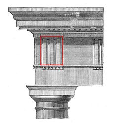 The wooden beams were notched in three separate places in order to cast their rough-cut ends mostly in shadow. Image: Roman Doric order from the Theater of Marcellus: triglyphs centered over the end column Art Et Architecture, Ancient Greek Architecture, Classical Architecture, Historical Architecture, School Architecture, Architecture Details, Colonial Architecture, Building Columns, Building Structure