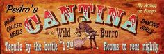 LARGE Distressed Wood Cantina Sign