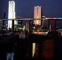 Neon Metrorail bridge over the Miami River