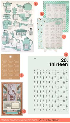 Creature Comforts Holiday Gift Guide: 2013Calendars | Find links for all products on Creature Comforts Blog