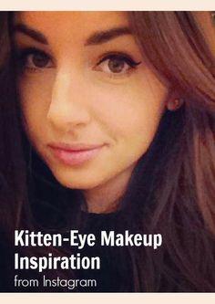 See the kitten eye, the latest makeup trend. Kiss Makeup, Beauty Makeup, Eye Makeup, Hair Makeup, Hair Beauty, Kitten Eyes, Latest Makeup Trends, Beauty Stuff, Makeup Inspiration
