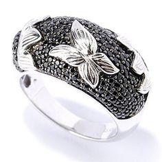 Gem Treasures Sterling Silver 1.21ctw Black Spinel Sunflower Ring