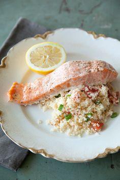 Paula Deen Salmon Filets over Couscous