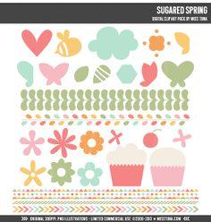 Sugared Spring Digital Clipart Clip Art Illustrations by MissTiina, $5.00