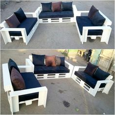 Brilliant Ideas to Make Out of Reused Wooden Pallets: Here comes the time when you add your house with the beauty impacts all through the choice of the latest furniture trends. Pallet Patio Furniture, Outdoor Furniture Plans, Pallet Sofa, Diy Furniture Projects, Pallet Benches, Elegant Sofa, Outdoor Couch, Wooden Pallets, Sofa Design