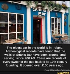 factsweird meme oldest bar in the world is in ireland archeological record have found that the walls of seansbar have been around and serving since 900 ad records of every owner of the pub back to its century founding opened over 1100 years ago Oh The Places You'll Go, Cool Places To Visit, Places To Travel, Old Bar, Wtf Fun Facts, Crazy Facts, Random Facts, Just Dream, I Want To Travel