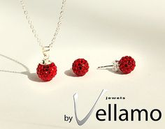 Red crystal ball necklace and earrings sterling by byVellamo, $35.00