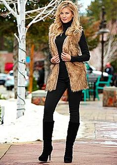 Faux Fur Vest, Essential Turtleneck, Denim, Ruched Boot in Fashion Mode, Fall Fashion Outfits, Casual Winter Outfits, Autumn Fashion, Womens Fashion, Fashion Capsule, Fashion Suits, 70s Fashion, Fashion Online