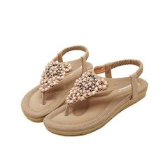 Bohemia Floral Bead Crystal Slip On Elastic Flat Beach Sandals Women Sandals 7f2459077659