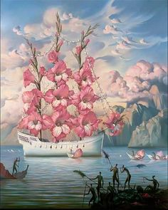 Vladimir Kush...this ship with rose sails would be one epic tattoo