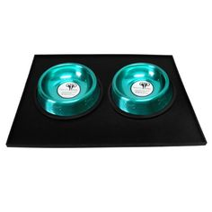 Platinum Pets 1 Cup Embossed NonTip Stainless Steel Cat Bowls with Black Feeding Mat Caribbean Teal ** Visit the image link more details.(This is an Amazon affiliate link)