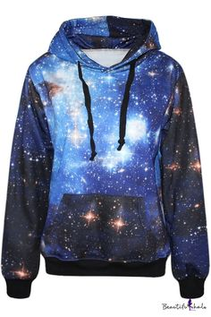 Blue Galaxy Print Hoodie - Beautifulhalo USD $24.14