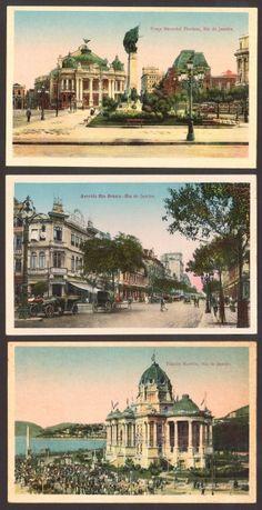 (3) Cartões Postais - Praça Marechal Floriano / Avenida Rio Branco / Palácio Monroe - Rio de Janeiro