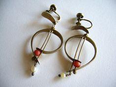 Walker-Navar Handmade Modernist Coral + Pearl Earrings ca. 1950