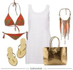 Checklist para as férias de verão: mala de viagem. Biquíni + Vestido + Acessório Gipsy/Boho + Bolsa de Praia + Sandália Rasteira #moda #look #viagem #mala #outfit #looknowlook