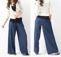 Elastic waist casual wide leg pants by MaLieb on Etsy, $66.00