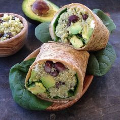 Quinoa wrap with black beans, tahini-avocado sauce, monterey and feta cheese and spinach!