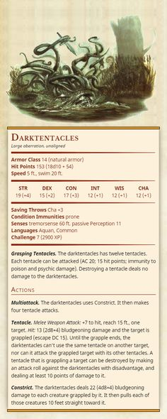 Third Edition D&D monsters converted to Fifth Edition. Dungeons And Dragons Rules, Dungeons And Dragons Classes, Dnd Dragons, Dungeons And Dragons Homebrew, Cool Monsters, Dnd Monsters, Dnd Stats, Dungeon Master's Guide, Dnd 5e Homebrew