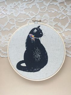 Floral Cat Collar Embroidery Hoop Art Black by PlaidLoveThreads