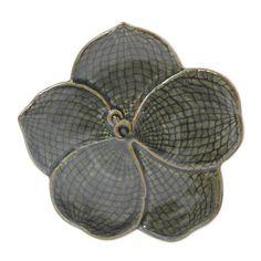 Floral Celadon Ceramic Serving Plate - Green Vanda   NOVICA
