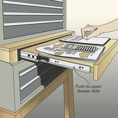 This wood be perfect for the garage. Drawer in between metal stacked tool boxes to act as a desk. Workshop Storage, Workshop Organization, Diy Workshop, Garage Workshop, Garage Organization, Tool Storage, Garage Storage, Organizing Tools, Workshop Plans