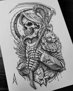 Half Sleeve Tattoos Sketches, Skull Sleeve Tattoos, Tattoo Sketches, Tattoo Drawings, Cool Skull Drawings, Warrior Tattoos, Warrior Tattoo Sleeve, Egypt Tattoo, Magic Tattoo