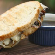 True comfort panini - roast beef, sweet caramelized onions and Gruyere cheese grilled on French bread with a side of au jus