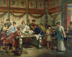 This painting by Roberto Bompiani captures a common 19th-century association of Roman dining and excess. A Roman Feast, late 1800s. The J. Paul Getty Museum