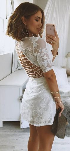 #summer #outfits White Lace Up Back Dress✨