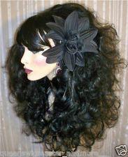 Drag Queen Wig Teased Big Long Black Big Heavy Bangs Curly
