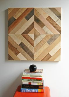 Diagonal Pattern Wall Art These 12 square wood art panels can be mounted in any direction and can be combined with additional panels to created your own design. Each piece is handmade from reclaimed wood and comes with hangin Reclaimed Wood Wall Art, Reclaimed Wood Projects, Easy Wood Projects, Wooden Wall Art, Diy Pallet Projects, Wall Wood, Art Projects, Woodworking Logo, Woodworking Furniture