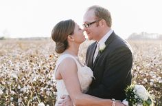 Bride and groom portraits in a cotton field- love! photo by Brett and Jessica