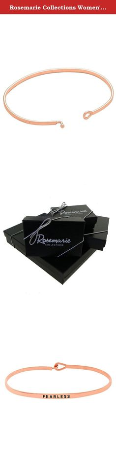"""Rosemarie Collections Women's Thin Hook Bangle Bracelet """"Fearless"""" (Rose Gold). Rosemarie Collections is a Women Owned Small Business located in the USA! We offer fashionable jewelry and accessories for all occasions, a nice addition to your own collection or a great gift for someone special."""