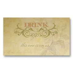 Vintage Rose And Swirl Wedding Drink Ticket Business Card Templates