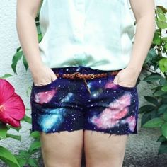 DIY galaxy shorts without bleach. Little hipsters unite!