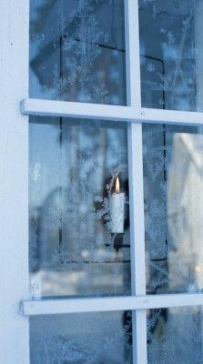 A candle in the window is a Welcome Home sign in Winter. Window Candles, Candle Lanterns, Candle Sconces, Blue Christmas, Christmas Colors, Winter Christmas, Winter Magic, Winter Time, Through The Window