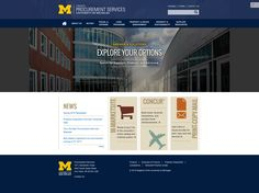 """Commercial Progression worked directly with Michigan Creative to deliver the new University of Michigan Procurement Services website.  Ensuring a successful responsive web design project included the creation of wireframes, graphic design concepts, and an iterative feedback process to arrive at the final design.  """"Commercial Progression has proven to be an excellent partner in developing and deploying Drupal websites.""""  ~Guy Winter, Managing Director of Michigan Creative"""