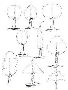 Cahide Keskiner, Minyatür Sanatında Doğa Çizim ve Boyama Teknikleri Belirli formlar içinde değişik ağaç çizimleri