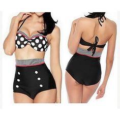 2b59a7b6b3 Cupshe Polka Dot Swimwear of 2015 Halter Bikini