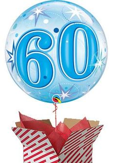 Large Blue Starburst 60th Birthday Balloon Delivered Gifts For 18th Birthday, 21st Birthday, 60th Birthday Balloons, Helium Balloons, First Birthdays, 50th, Blue, First Anniversary, One Year Birthday