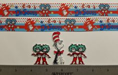 """2 Yds 7/8"""" The Cat in the Hat Inspired Grosgrain Ribbon and 3 Resin/ supplies"""