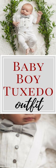 This baby boy tuxedo onesie and legging set is perfect to dress your little guy up for his blessing or christening. Would make a perfect baby shower gift. baby blessing outfit boy, christening outfits for boy, baptism outfit boy #babyclothes #valentinesideas #ad #babystuff