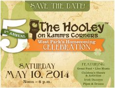 5th Annual Hooley on Kamm's Corners™ -- May 10, noon to 8 p.m. on Lorain Avenue at Rocky River Drive in Cleveland, Ohio 44111. Address: 17138 Lorain Avenue. t's West Park's Homecoming Celebration, featuring great food, live music, children's shows & activities, Irish dancers, pipes & drums, and more.