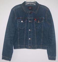 US Polo Assn Distressed Blue Jean Jacket Medium #USPoloAssn #JeanJacket